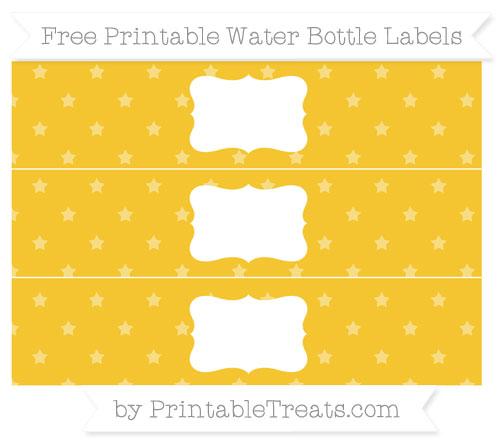 Free Saffron Yellow Star Pattern Water Bottle Labels