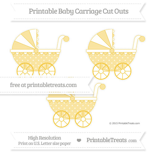 Free Saffron Yellow Star Pattern Medium Baby Carriage Cut Outs