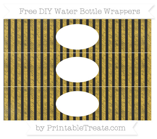 Free Saffron Yellow Striped Chalk Style DIY Water Bottle Wrappers