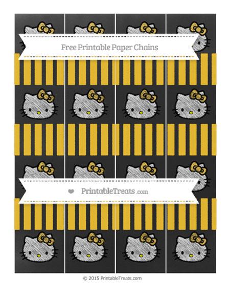Free Saffron Yellow Striped Chalk Style Hello Kitty Paper Chains