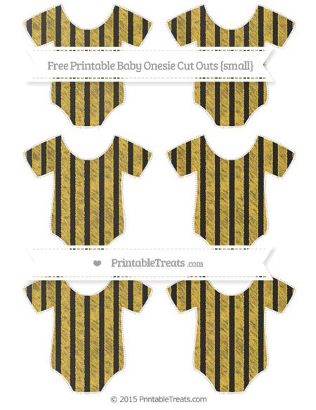 Free Saffron Yellow Striped Chalk Style Small Baby Onesie Cut Outs