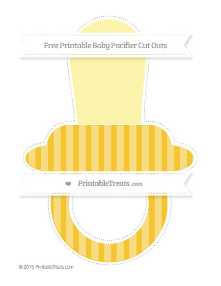Free Saffron Yellow Striped Extra Large Baby Pacifier Cut Outs