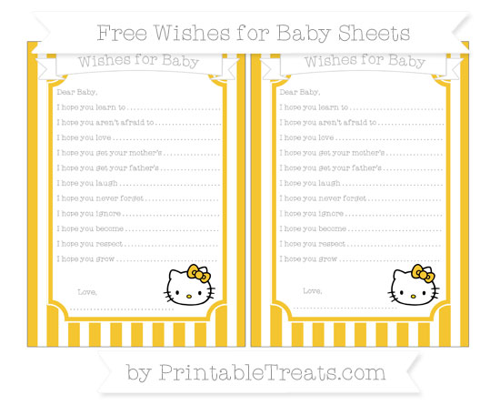 Free Saffron Yellow Striped Hello Kitty Wishes for Baby Sheets