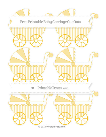 Free Saffron Yellow Striped Small Baby Carriage Cut Outs