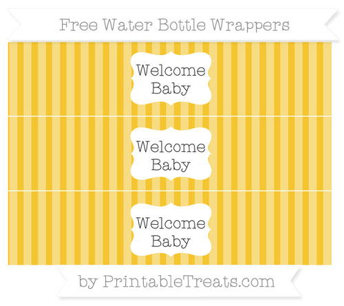 Free Saffron Yellow Striped Welcome Baby Water Bottle Wrappers