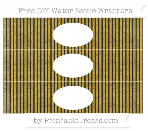 Free Saffron Yellow Thin Striped Pattern Chalk Style DIY Water Bottle Wrappers