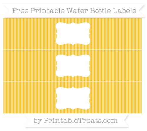 Free Saffron Yellow Thin Striped Pattern Water Bottle Labels