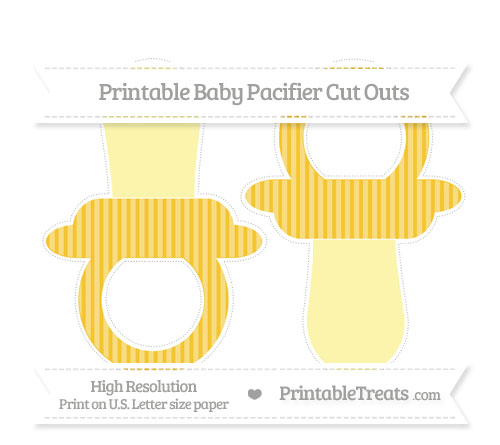 Free Saffron Yellow Thin Striped Pattern Large Baby Pacifier Cut Outs