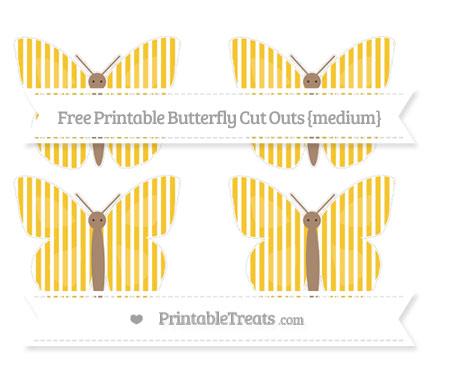 Free Saffron Yellow Thin Striped Pattern Medium Butterfly Cut Outs