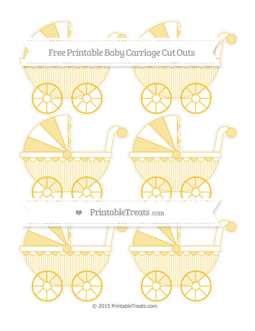 Free Saffron Yellow Thin Striped Pattern Small Baby Carriage Cut Outs