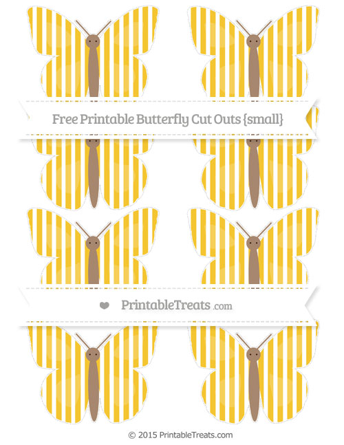 Free Saffron Yellow Thin Striped Pattern Small Butterfly Cut Outs