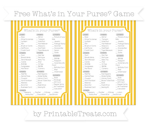 Free Saffron Yellow Thin Striped Pattern What's in Your Purse Baby Shower Game