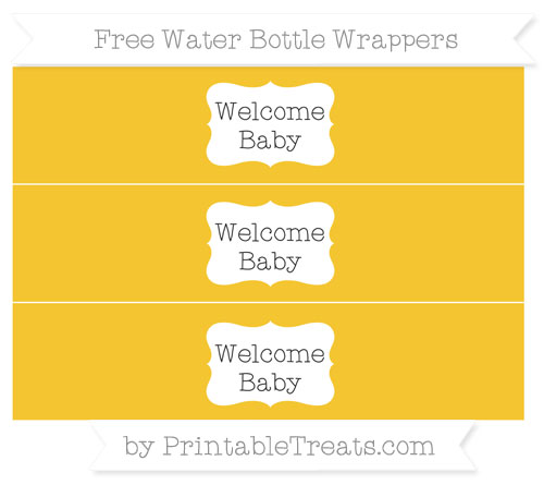Free Saffron Yellow Welcome Baby Water Bottle Wrappers