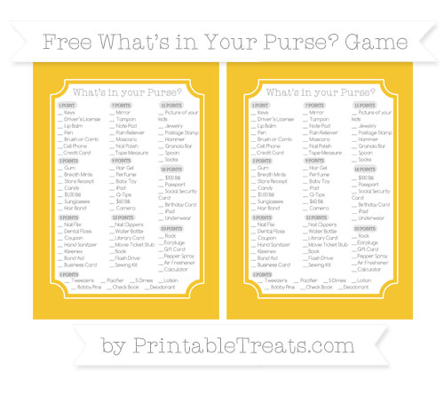 Free Saffron Yellow What's in Your Purse Baby Shower Game