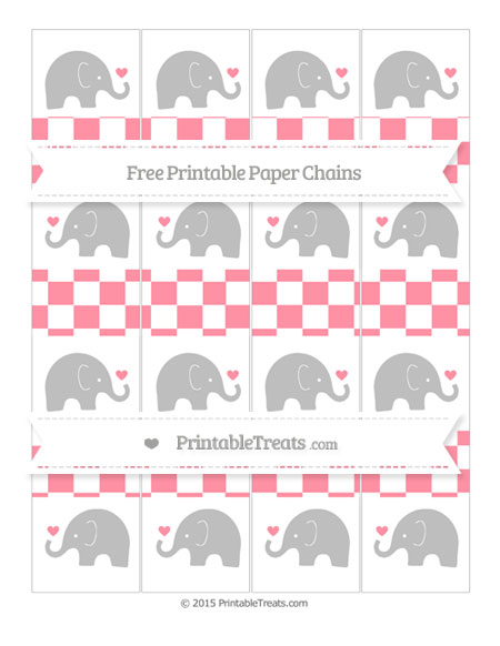 Free Salmon Pink Checker Pattern Baby Elephant Paper Chains