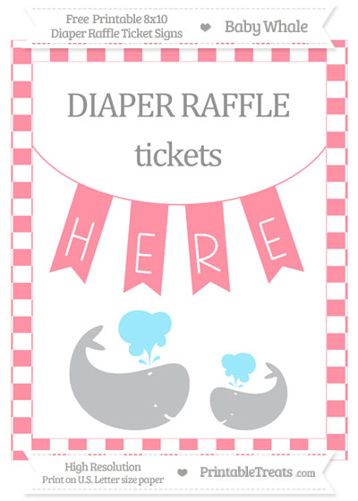 Free Salmon Pink Checker Pattern Baby Whale 8x10 Diaper Raffle Ticket Sign