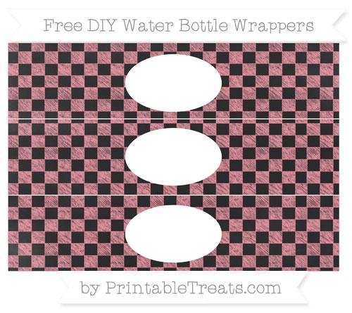 Free Salmon Pink Checker Pattern Chalk Style DIY Water Bottle Wrappers