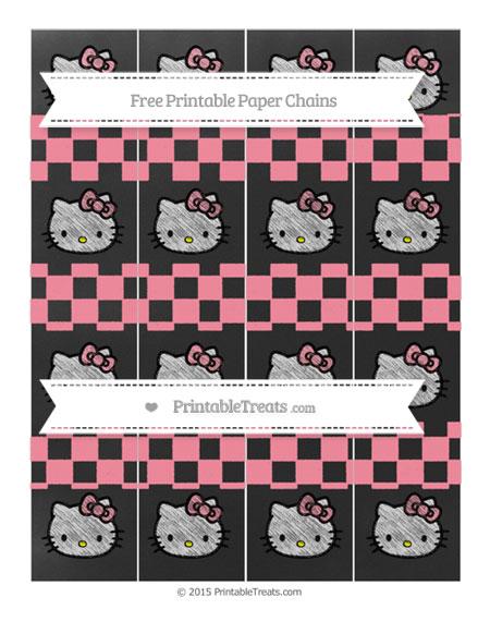 Free Salmon Pink Checker Pattern Chalk Style Hello Kitty Paper Chains