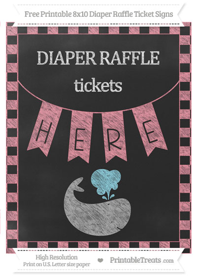 Free Salmon Pink Checker Pattern Chalk Style Whale 8x10 Diaper Raffle Ticket Sign