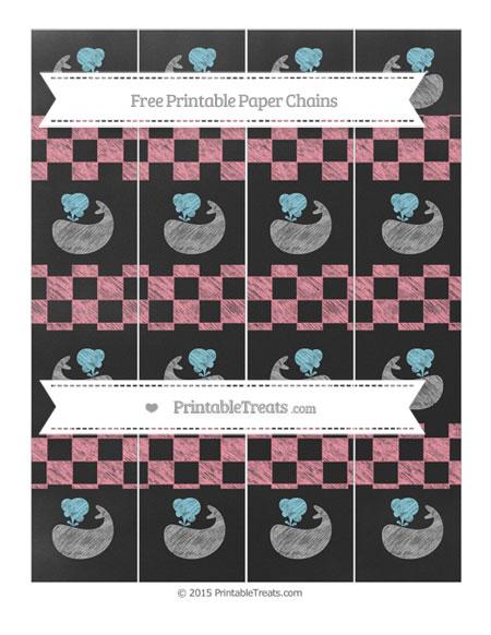 Free Salmon Pink Checker Pattern Chalk Style Whale Paper Chains