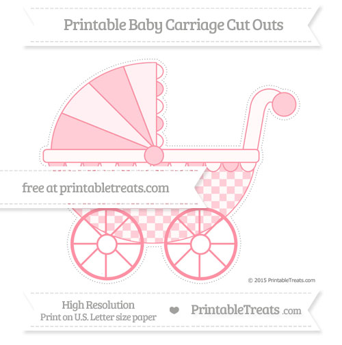 Free Salmon Pink Checker Pattern Extra Large Baby Carriage Cut Outs