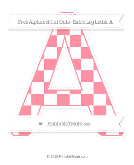 Free Salmon Pink Checker Pattern Extra Large Capital Letter A Cut Outs