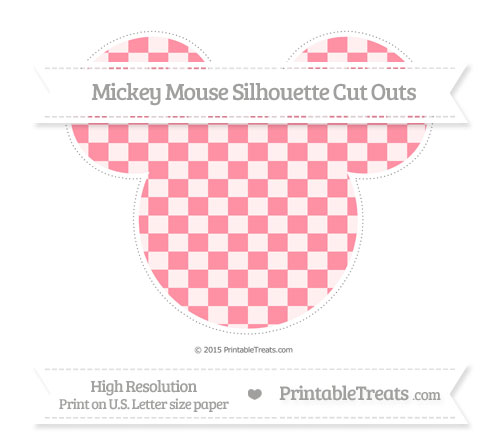 Free Salmon Pink Checker Pattern Extra Large Mickey Mouse Silhouette Cut Outs