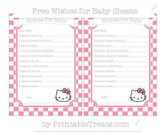 Free Salmon Pink Checker Pattern Hello Kitty Wishes for Baby Sheets