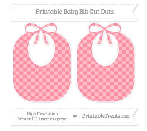 Free Salmon Pink Checker Pattern Large Baby Bib Cut Outs