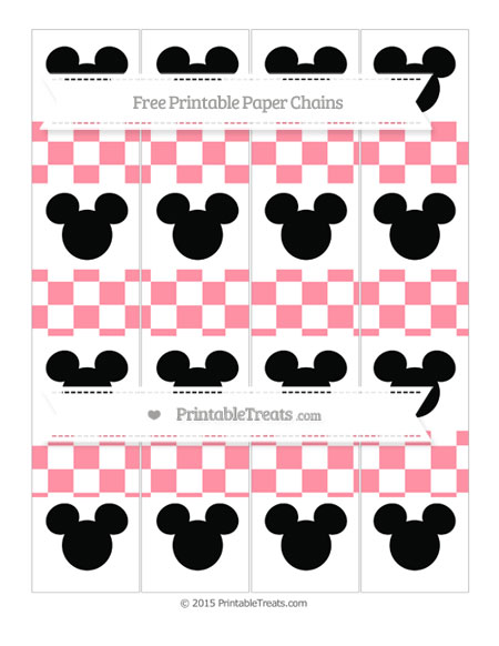 Free Salmon Pink Checker Pattern Mickey Mouse Paper Chains