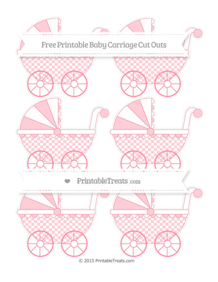 Free Salmon Pink Checker Pattern Small Baby Carriage Cut Outs