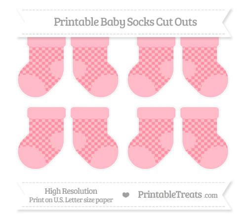 Free Salmon Pink Checker Pattern Small Baby Socks Cut Outs