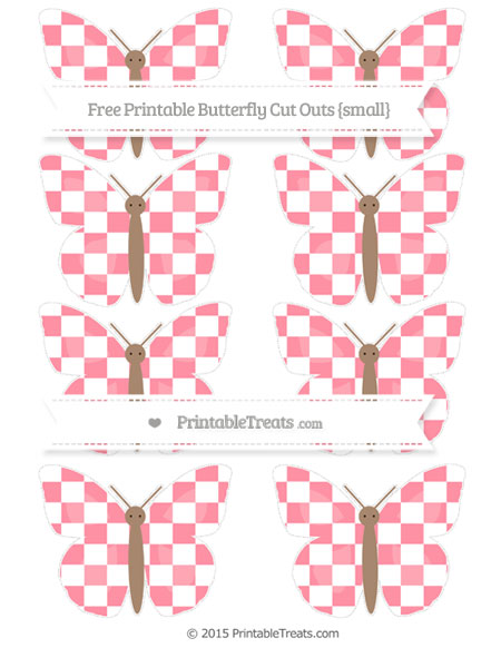 Free Salmon Pink Checker Pattern Small Butterfly Cut Outs