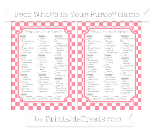 Free Salmon Pink Checker Pattern What's in Your Purse Baby Shower Game