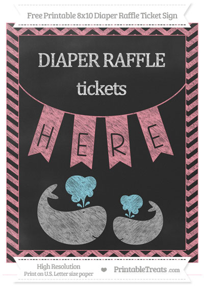 Free Salmon Pink Chevron Chalk Style Baby Whale 8x10 Diaper Raffle Ticket Sign