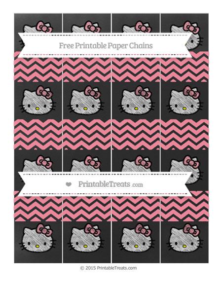 Free Salmon Pink Chevron Chalk Style Hello Kitty Paper Chains