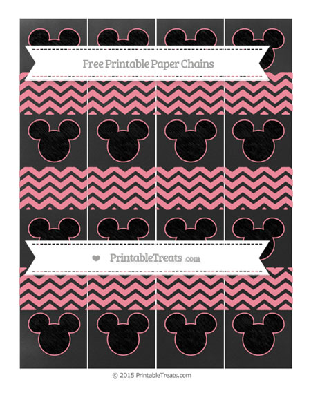 Free Salmon Pink Chevron Chalk Style Mickey Mouse Paper Chains
