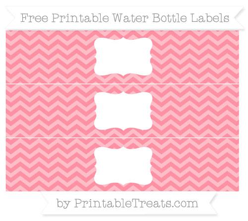 Free Salmon Pink Chevron Water Bottle Labels