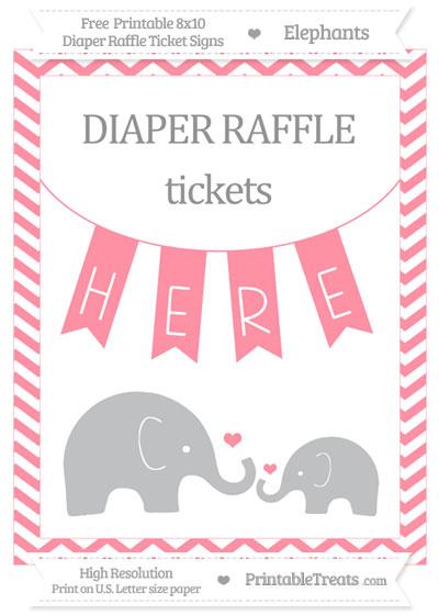 Free Salmon Pink Chevron Elephant 8x10 Diaper Raffle Ticket Sign