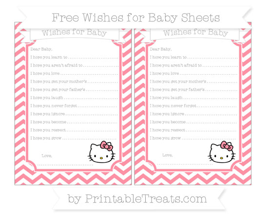 Free Salmon Pink Chevron Hello Kitty Wishes for Baby Sheets