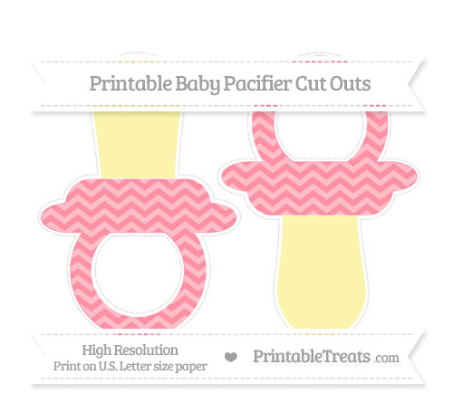 Free Salmon Pink Chevron Large Baby Pacifier Cut Outs