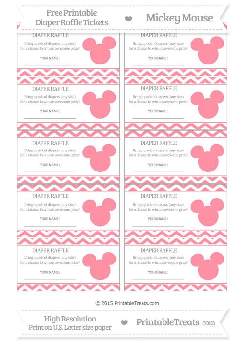 Free Salmon Pink Chevron Mickey Mouse Theme Diaper Raffle Tickets