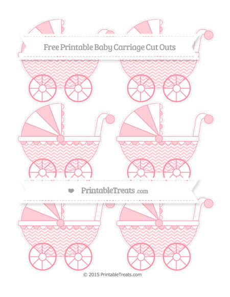 Free Salmon Pink Chevron Small Baby Carriage Cut Outs