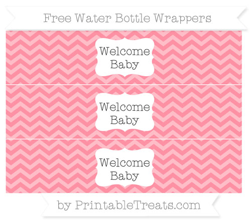 Free Salmon Pink Chevron Welcome Baby Water Bottle Wrappers