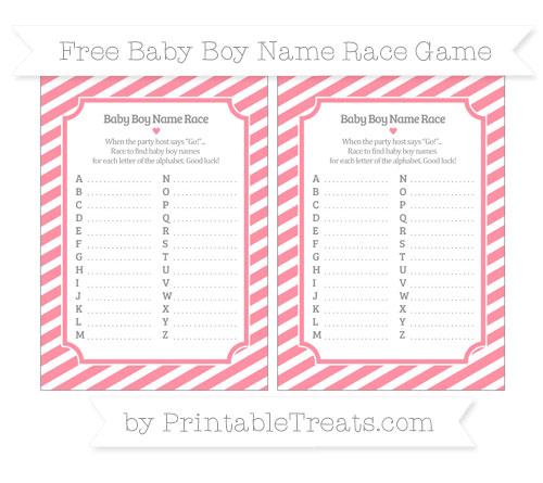 Free Salmon Pink Diagonal Striped Baby Boy Name Race Game