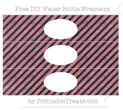 Free Salmon Pink Diagonal Striped Chalk Style DIY Water Bottle Wrappers