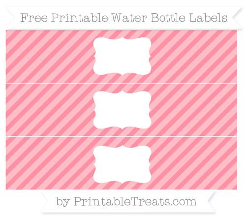 Free Salmon Pink Diagonal Striped Water Bottle Labels