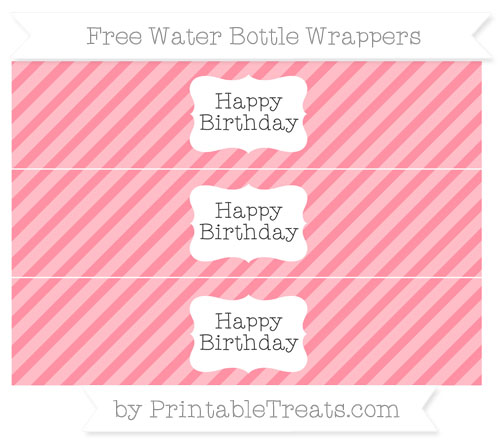 Free Salmon Pink Diagonal Striped Happy Birhtday Water Bottle Wrappers