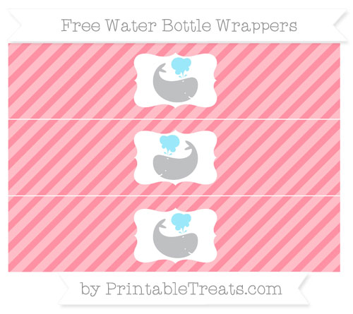 Free Salmon Pink Diagonal Striped Whale Water Bottle Wrappers