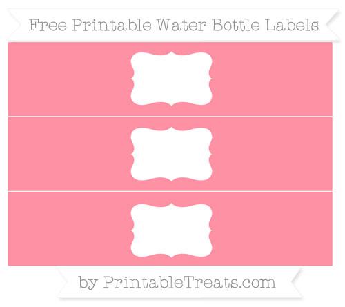 Free Salmon Pink Water Bottle Labels
